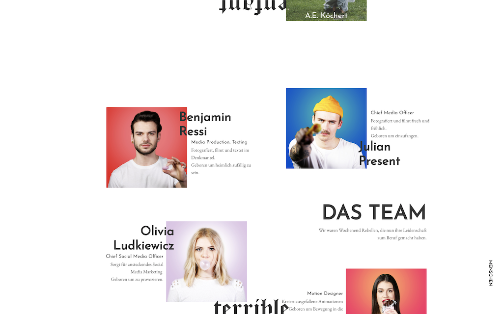The enfant terrible site: team section