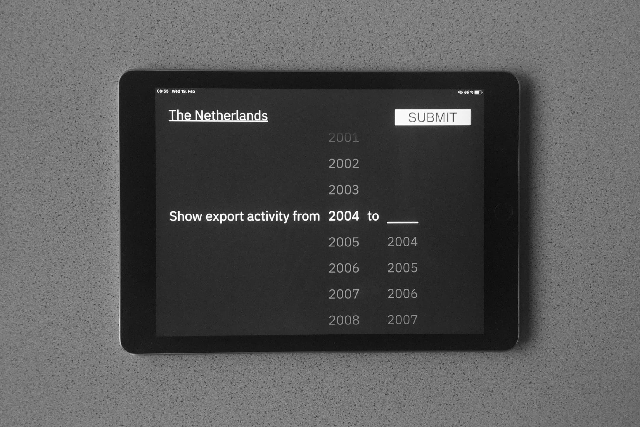 iPad screen: selecting a time range (in years) for export activity to be displayed